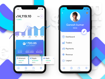 Cryptocurrency Wallet transaction profiles gadget graphic filter block chain finance trading blockchain iot trade profile money market iphone x exchnage currency cryptocurrency etherem coin