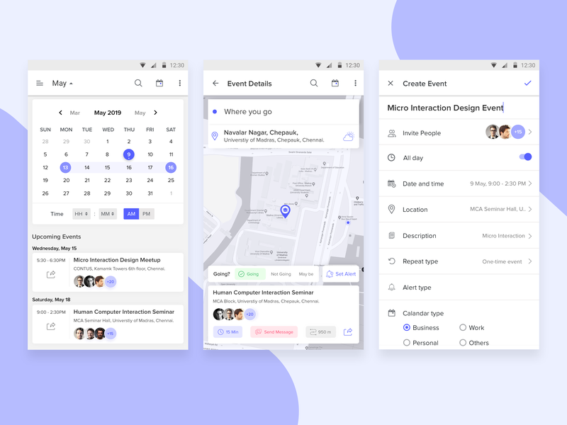 Event App Management task management todo download ui kit edit reminder upcoming schedule profile page detail android ui material design card time create tracking location calander event