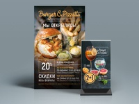 Restaurant poster and tablet
