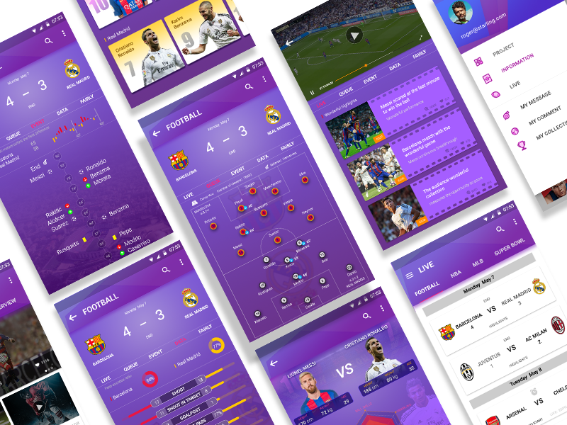 On the football application interface finishing
