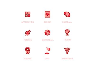 Simplified icon football whistle badminton golf basketball sports illustration icon ui app
