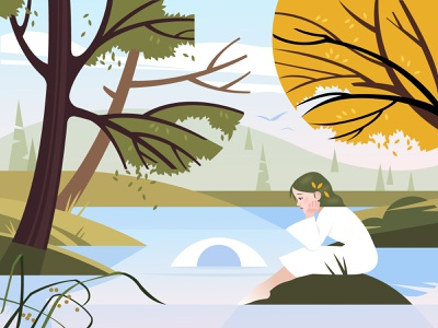Mystic lake mystery eye green character nature illustration nature summer fall autum forest child girl trees tree water river lake landscape illustration vector