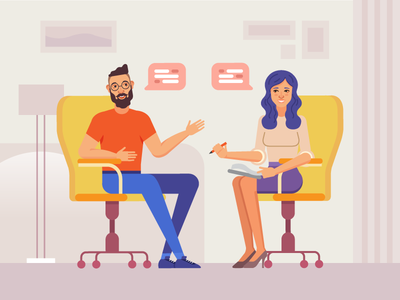 Interview interview illustration couple talk girl boy meeting