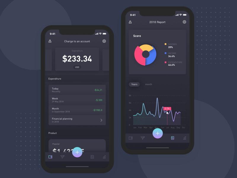 Charge to an account card app charge to an account data financial black radio application dashboard typography ios design ui
