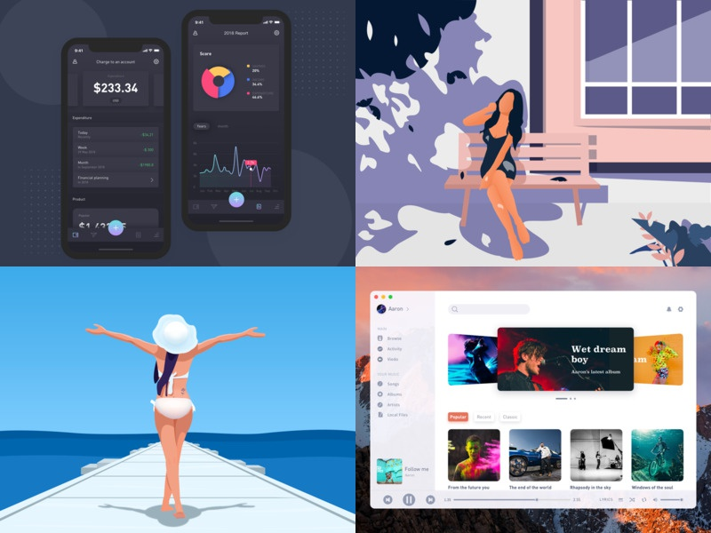 The past 2018 graphic designer beach black music illustration app android user station player radio material dashboard ios application design interface ui