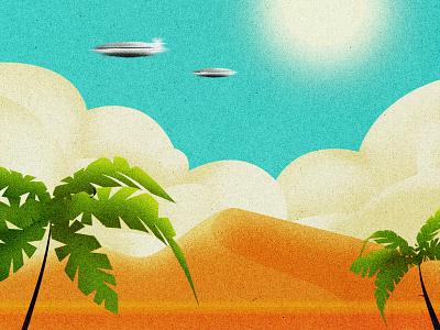 Desert UFO drawing architecture illustrator flat vectorillustration design vector modern graphic design illustration