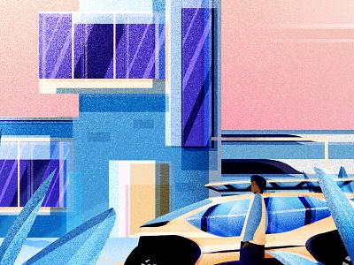Ocean Cabin 2 car adobe illustrator flat vectorillustration design vector modern graphic design illustration