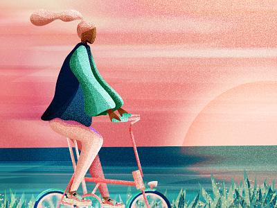Bicycle Day 2043 drawing landscape illustrator flat vectorillustration design vector modern graphic design illustration