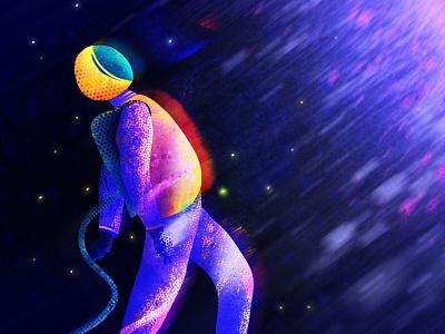 Space Walk spaceman space drawing illustrator flat vectorillustration design vector modern graphic design illustration