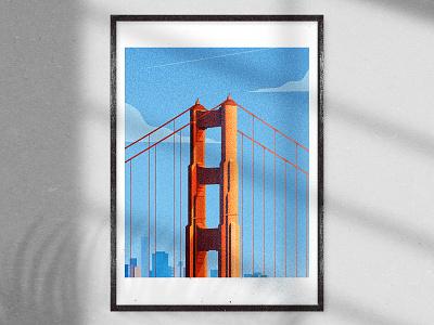 Golden Gate Bridge Artprint adobe architecture illustrator flat vectorillustration design vector modern graphic design illustration