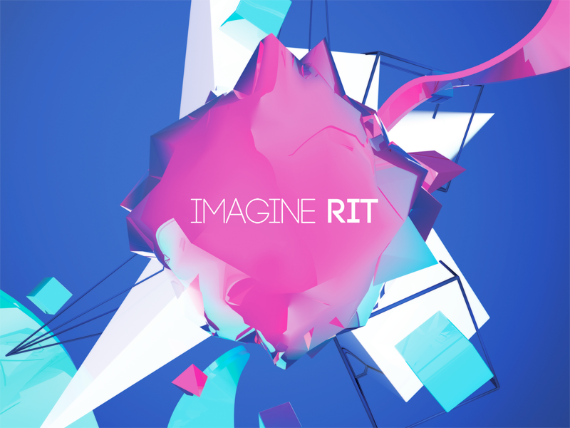 ImagineRIT Poster poster 3d magenta blue collision type typography