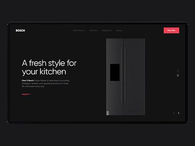 Bosch Product Landing Page landing page product web site concept 3d cinema 4d ux ui creative clean design