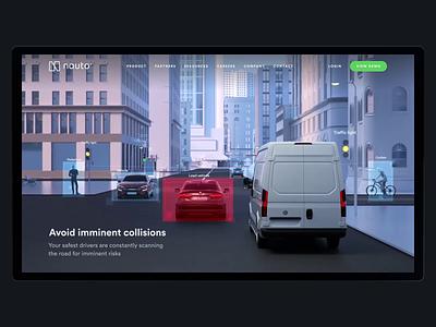Nauto Predictive Collision Alerts – Promo Page Animation ai auto automotive product animation motion design 3d web ux ui cinema 4d creative clean design