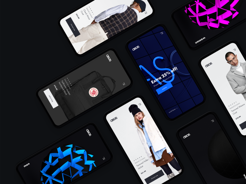 ASOS Redesign Series .03 abstract art abstract 3d art 3d cinema 4d typography uidesign e-commerce site web design creative clean ui  ux concept mobile asos ux ui
