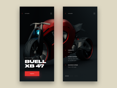 Product Screen for Bike Concept