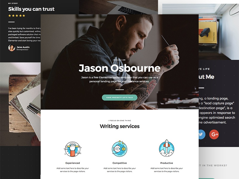 Personal landing page template for Elementor (Free Download)