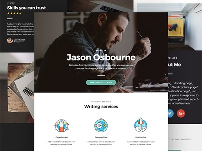 Personal landing page template for Elementor (Free Download) freebie wordpress elementor one page landing page