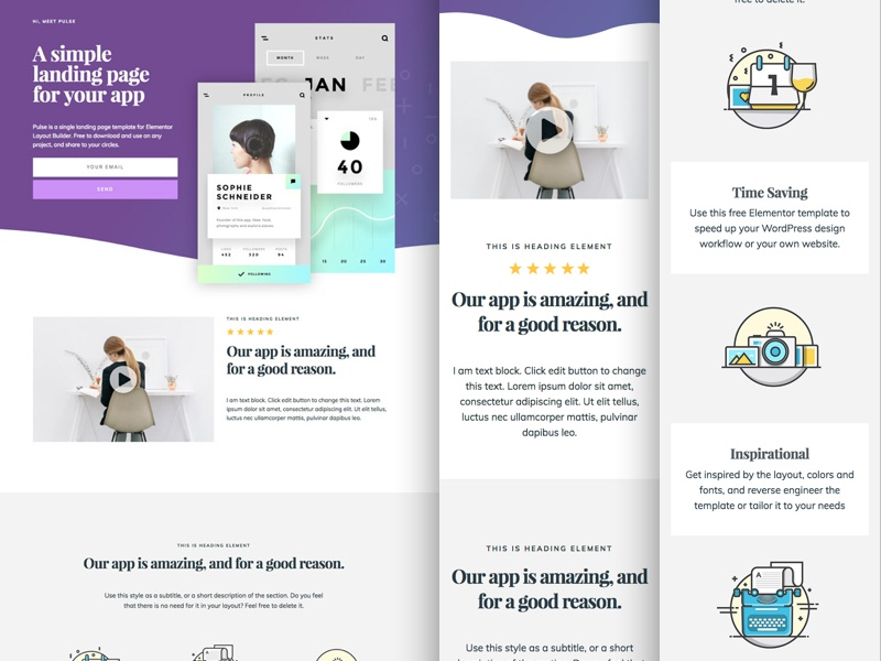 App landing page template for elementor by John Fraskos on