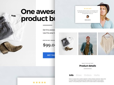 Free Layout template for Elementor Page builder fashion clean theme landing page product shop wordpress elementor