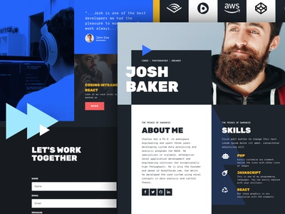 Tek - Personal landing page template dark background bold font design page builder one page landing page theme wordpress elementor