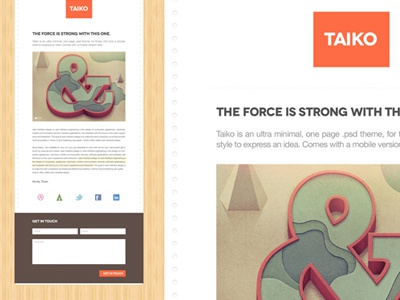 Taiko - A one page minimal theme one-page single page creative market wood paper minimal