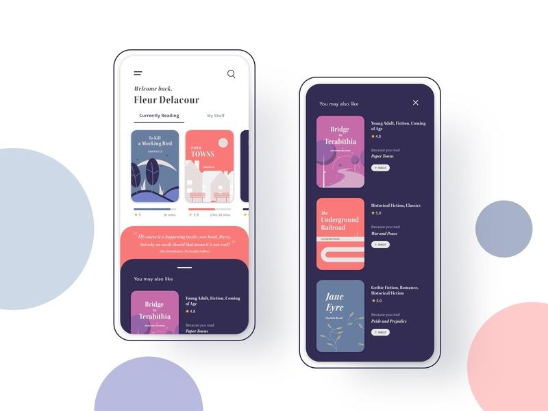 Reader App Homepage Design ebook cover reader app ux design app design mobile design animation mobile uxdesign uidesign ux design autoanimate adobexd