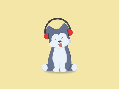 Music loving Husky pup pup pet headphones music flatdesign vectordesign adobexd vector art design dog puppy husky