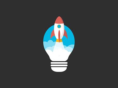 Skyrocket kickstart launch kickoff bulb space sky rocket launch light bulb idea rocket skyrocket
