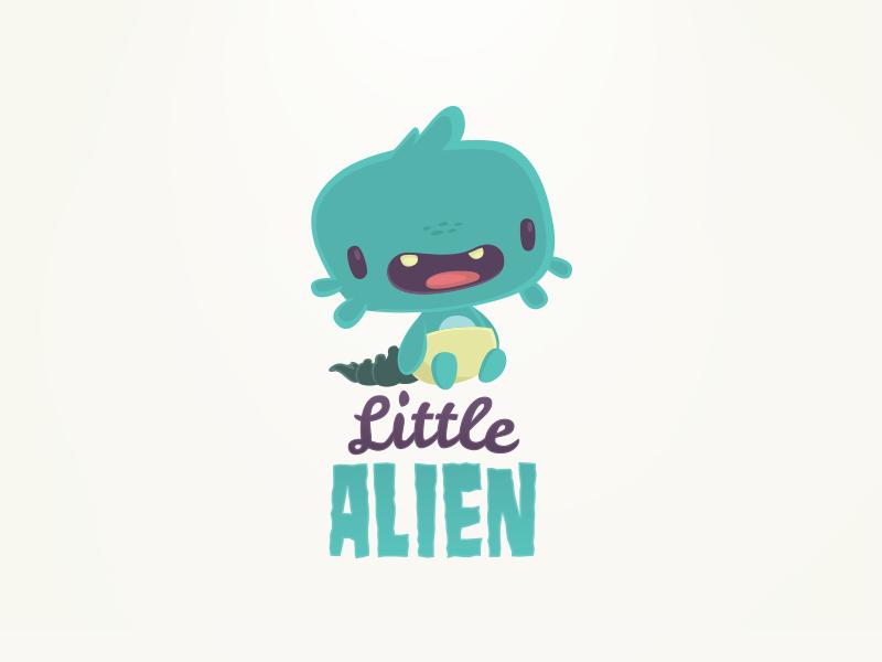 Little Alien cute kids alien character design logo