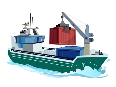Container ship illustration vector drawings ship container