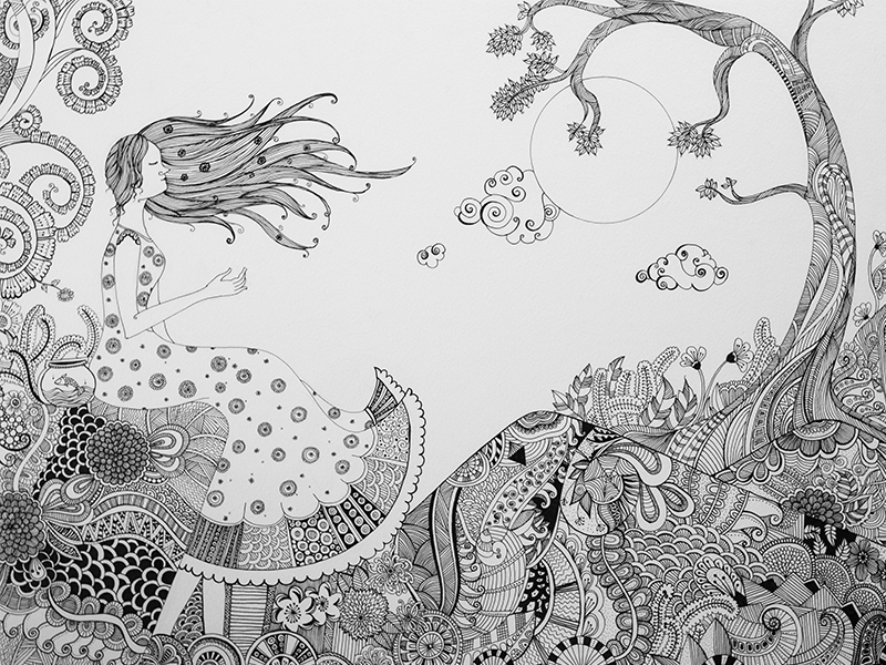 Dreamy Swirls patterns floral design sky pen drawing line drawing night moon girl swirls dreams black and white doodle