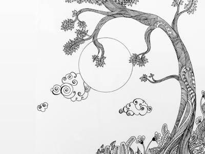 Dreamy Swirls  night doodles pen sketches line drawings black and white floral designs tree moon sky dreams