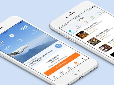 Travel App clean white colorful icons social explore list ios flight travel