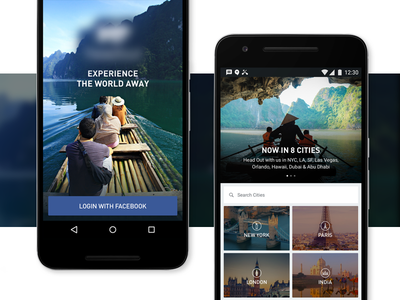 Travel App city card grid explore icons imagery clean android social travel