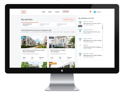 Property Listing Page scheduled visit tabs visits list search result website rent property