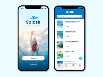 Pool pool reservation blue concept splash water listing swimming ios x