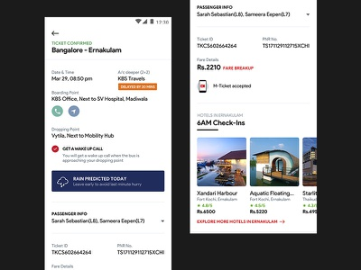 RedBus Ticket Details - Redesign Concept notification bus delay weather prediction bus details ticket booking