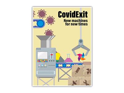Covid Exit illustration poster design artwork graphic design design