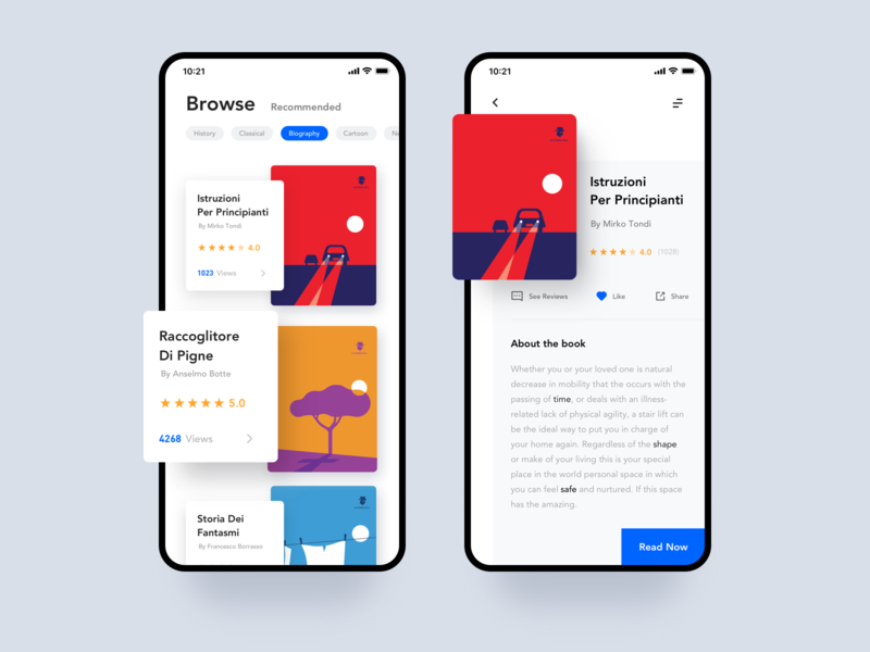 Reading Application interraction icon design card white blue interface iphonex iphonexs clean app ux ui reading read book