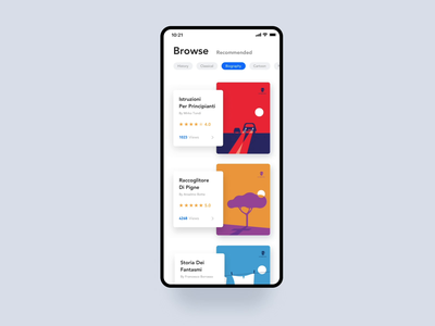 Reading Application branding browse iphonexs blue clean ux read reading book white interface black ui design illustration animation