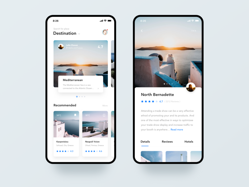 Travel Article Application voiture journey tour photos sights scenery hotel design typography santorini iphone x iphonex clean interface black blue ux ui mobile app travel