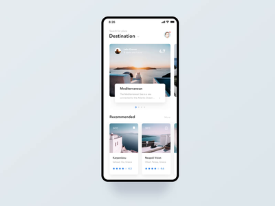 Travel Article Application sun grace sightseeing 3d art photo app travel white interface typography brand ux ui mobile app tour iphonex clean hotel blue black animation