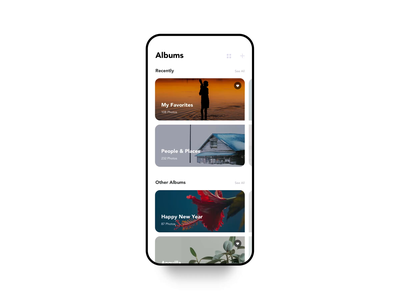 Photo Album Application summer snow photograph after affects iphonex image editor typography white clean black ux ui interface picture camera photos animation