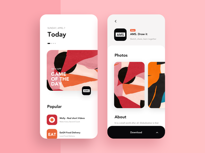 App Store Design Concept buy photos download app colors illustration design iphonex white apps pink red clean ux interface ui black