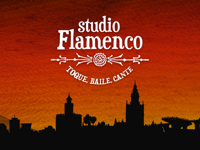 Studio Flamenco warm saturation guitar sunset sevilla music flamenco skyline cityscape logo design typography branding graphic design logo