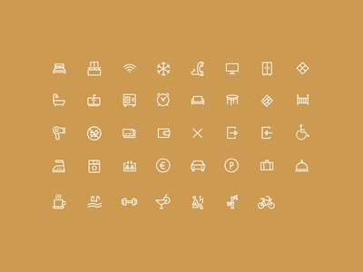 Hotel Alba icons line icons hotel hotel icons iconography icon set