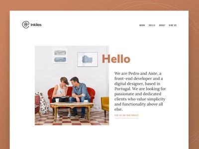 Inkilas homepage shot project personal portfolio vintage minimal minimalist freelance portfolio webdesign web design personal website homepage landing page