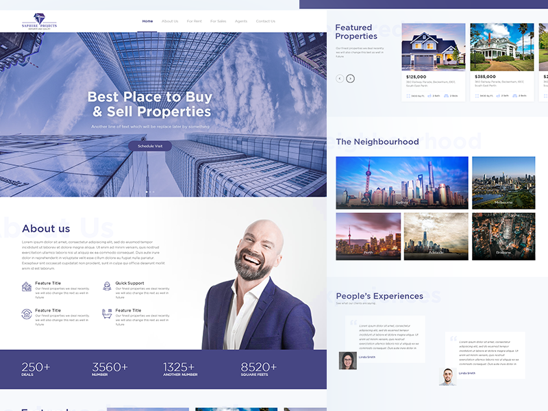 Real Estate Landing Page sapphire ux ui home page real estate