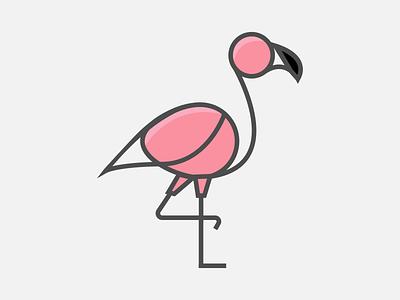 Flamingo Icon adobe illustrator minimal graphic design flat 2d weekly warm-up flamingo app icons animal illustration animal icon vector design illustration