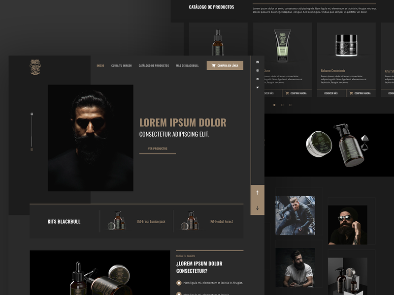 BlackBull Landing products dark man beard homepage webdesign brand web web design guatemala ui ux design website